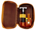 Parker Leather Double Edge Razor & Blades Travel Case